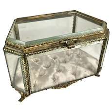 19th C French Large Gilt 6-Sided Beveled Crystal Casket Box