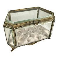 Large 19th C French 6-Sided Beveled Crystal Jewel Casket Box