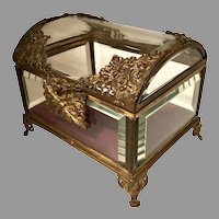 Large 19th C French Bronze Crystal Casket