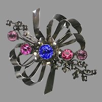 Rare Huge Hobe Sterling Silver Jeweled Bow Pin