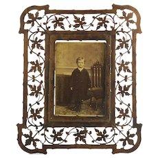 Rare Large Antique Pierced Maple Leaves Photo Frame