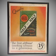 Custom Framed Vintage Ad  Lucky Strike Half & Half Tobacco  1927   In Color