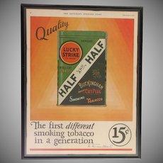 Custom Framed Vintage Ad  Lucky Strike Half & Half Tobacco  1927   In Color