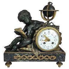 Imposing 19th C French Gilt Cherub Astronomer Mantle Clock