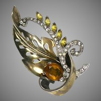 Retro Vermeil Mazer Sterling Silver Leaf  Pin