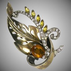 Retro Vermeil Sterling Mazer Pin  Signed  Dimensional Leaf with Stones  Striking