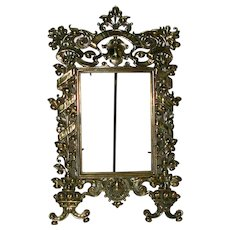 Antique 19th C Pierced Gilt Bronze Photo Frame