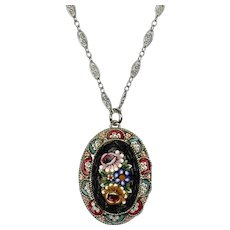 Italian Early 20thc Micro Mosaic Pendant Sterling Silver Chain   Fine Workmanship   Colorful