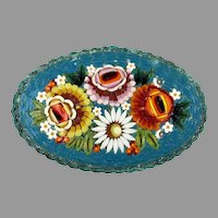 Large Early 20thc Micro Mosaic Colorful Flowers Pin Brooch