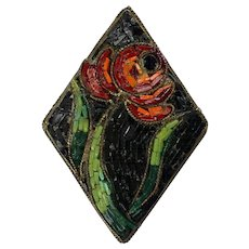 RARE Early 20th C Micro Mosaic Pin Brooch   Very Unusual   Flower Design    Black Background