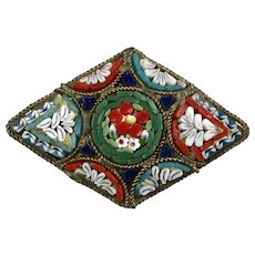 Italian Early 20thc Micro Mosaic Pin Brooch   Colorful   Fine Workmanship