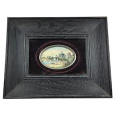 Antique Framed Miniature Painting Castle on Lake