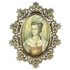 Extraordinary Georgian 18th C  Frame with Miniature Portrait