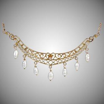 Antique Edwardian Gold Filigree Pendant Necklace  Diamond  Pearls  Lovely
