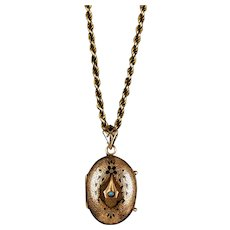 Victorian 14K Rose Gold Locket on Rope Chain