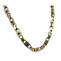 RARE Antique Victorian Colored Paste Book Chain Necklace