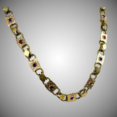 Antique Victorian Rose Gold Fronts Paste Book Chain Necklace