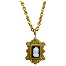 Antique Victorian Etruscan Revival Locket on Chain