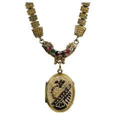 Antique Victorian Acrostic REGARD Book Chain Necklace