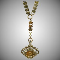 Antique Victorian Rose Gold Front Book Chain Swivel Necklace RARE