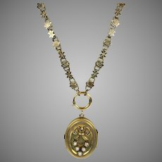 Victorian Rose GF Locket Book Chain Necklace