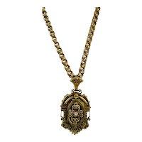 Antique Victorian Rose GF Link Chain Etruscan Revival Locket Necklace