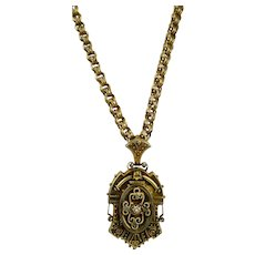 Antique Victorian Rose GF Link Chain Etruscan Revival Locket Necklace