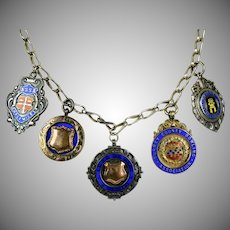 Early 20thC Sterling English Medals Charms Necklace
