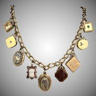 Antique Gold Filled 9 Lockets Charms Necklace