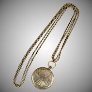 Victorian Long GF Necklace Locket  Tintype Engravings