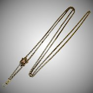 Victorian Heavy 14K GF Watch Chain Necklace w Slide