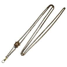 Victorian Heavy 14K GF Watch Chain Necklace w Slide