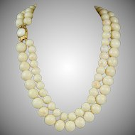 Vintage 18K Gold Double Strand White Angel Skin Coral Bead Necklace