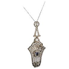 Top Quality Art Deco Sterling Silver Paste Pendant