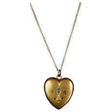 Art Deco GF Heart Locket Paste Jewels