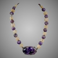 Art Deco Sterling Carved Amethyst Rose Quartz Beads Necklace