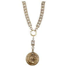 Victorian Gold Fronts Book Chain Lady Bust Locket