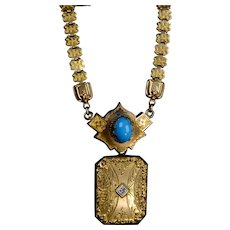 Victorian Book Chain Necklace Removable Locket