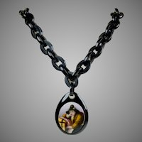 Victorian Chunky Whitby Jet Chain with Hand Painted Pendant