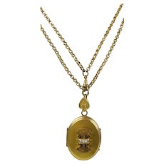 Antique Victorian Large Gold Locket on Long Chain