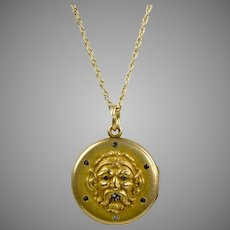 Victorian Figural Locket Pendant Necklace