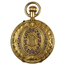 Antique 14K Gold Enamel Pocket Watch Locket Pendant