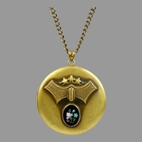 Victorian Large Micro Mosaic Locket Pendant Necklace
