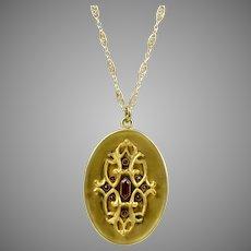 Art Nouveau GF Large Locket Pendant Necklace