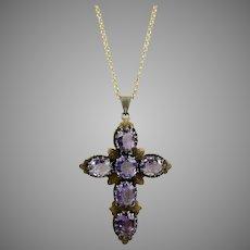 Victorian Gilt Silver Amethyst Cross Pendant Necklace