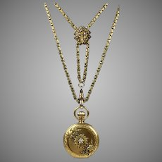 Victorian Heavy Gold Watch Chain Necklace with Pocket Watch