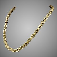 Victorian Heavy 14K Gold Chain Link Necklace