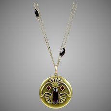 Art Nouveau GNS Huge Locket on Long Chain