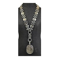 Aesthetic Victorian Sterling & Gold Book Chain Necklace
