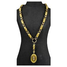 Rare Victorian Etruscan Revival Book Chain Necklace